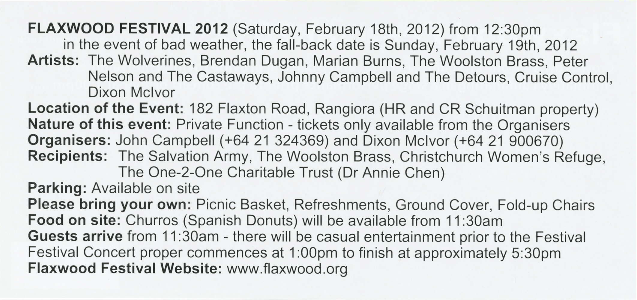 Flaxwood Ticket 2012